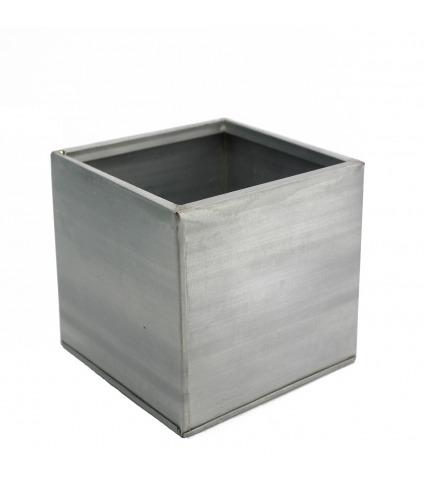Cache-pot cubique titanium
