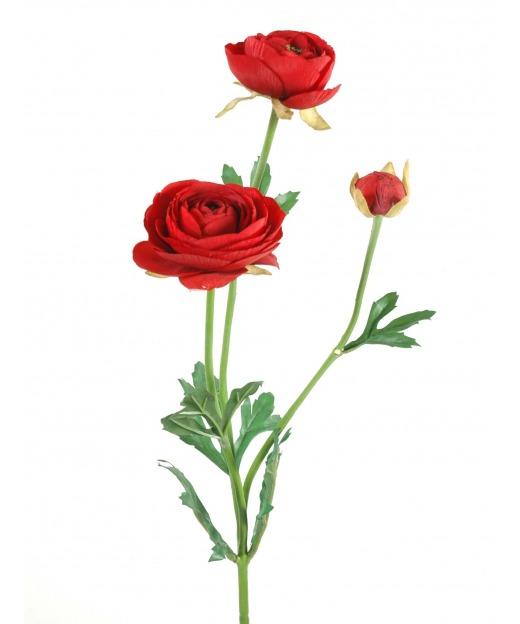 Renoncule artificielle rouge 75 cm