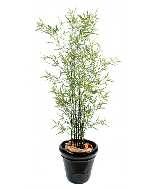 Bambou artificiel à chaumes noires 165 cm