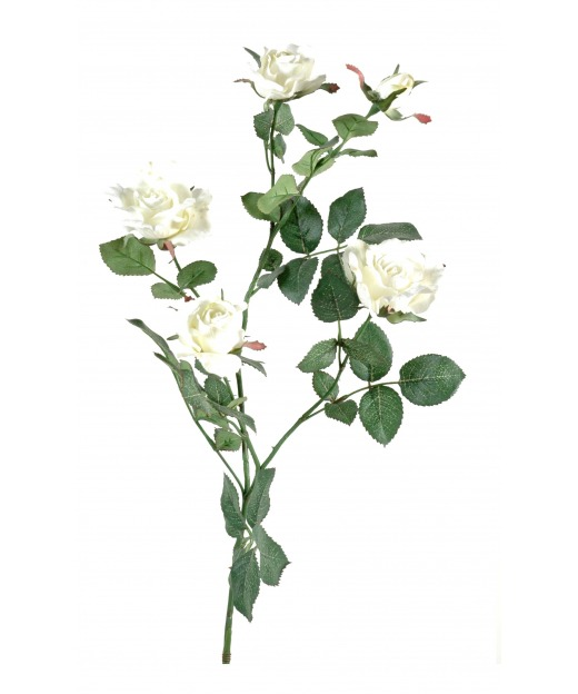 Rose artificielle blanche nature 80 cm