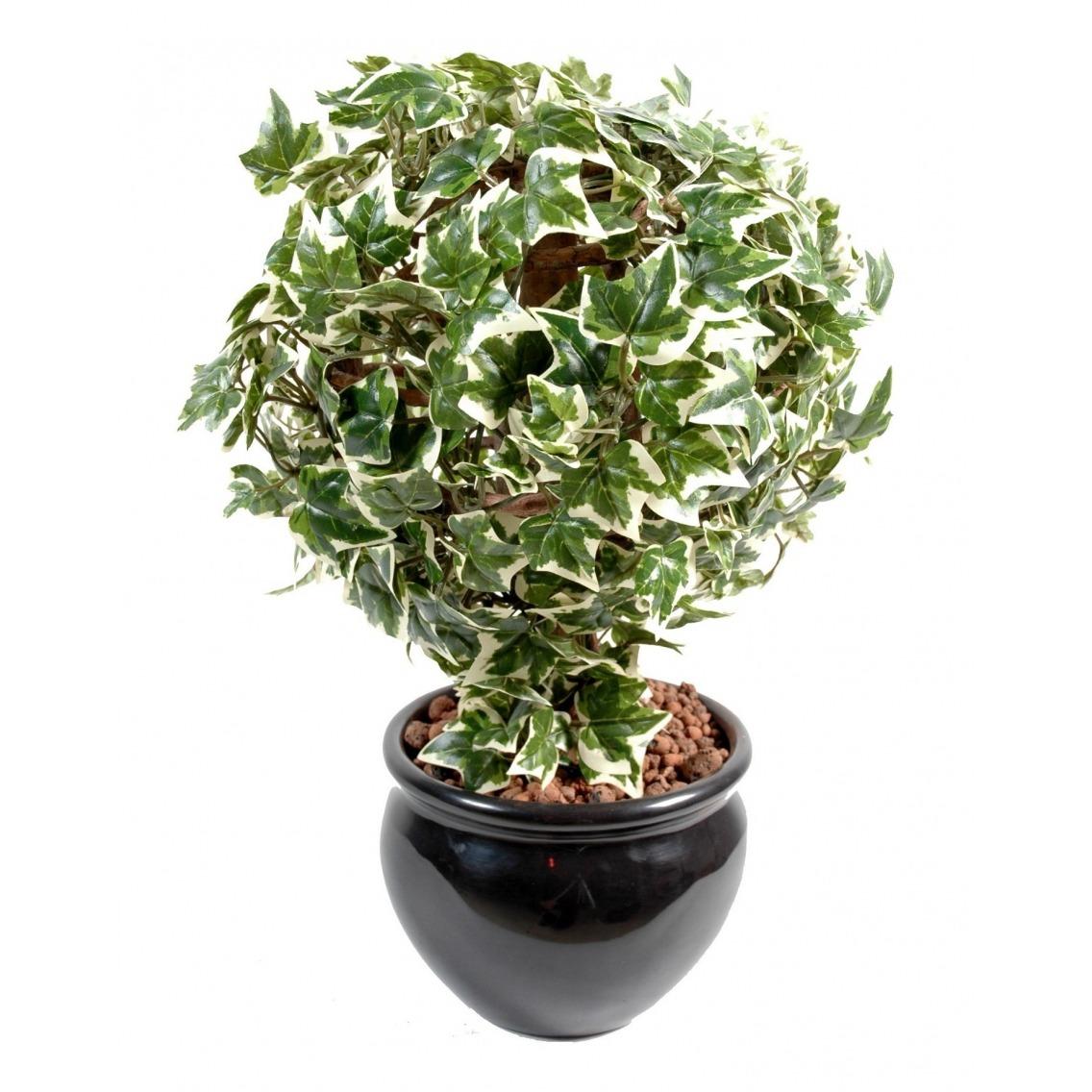 Lierre artificiel boule vert et blanc