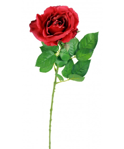 Rose rouge artificielle 68 cm