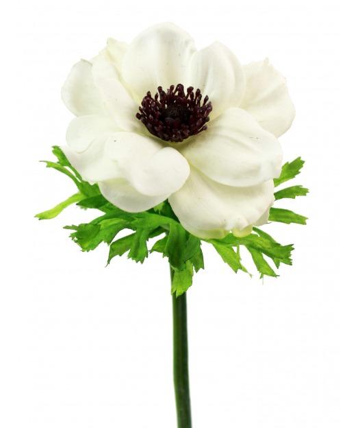 Anémone artificielle blanche 35 cm