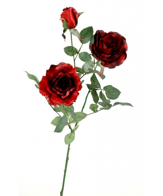 Rose artificielle feuillue 76 cm