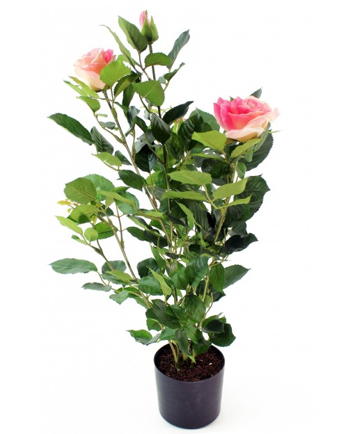 Rosier artificiel rose 60 cm