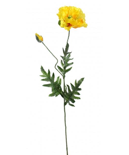 Coquelicot artificiel jaune 70 cm