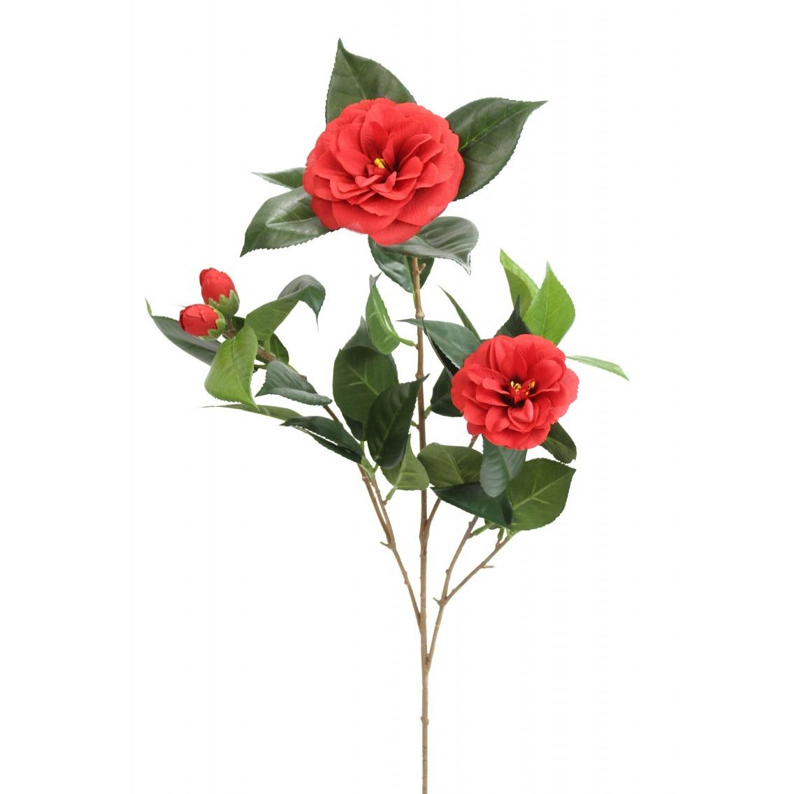 Branche artificielle de camélia rouge