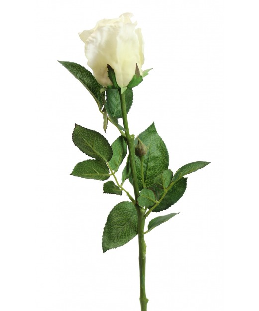 Rose artificielle blanche 68 cm