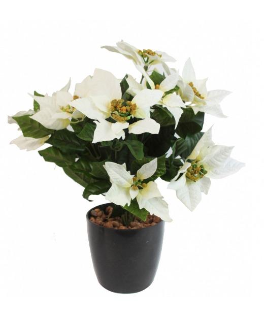 Poinsettia artificiel blanc 40 cm