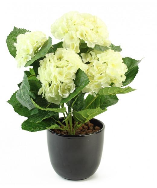 Hortensia artificiel blanc 40 cm
