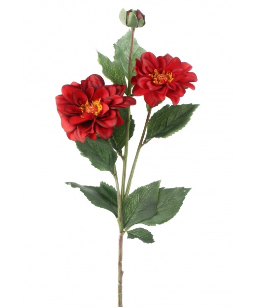 Duo de dahlias rouges 80 cm