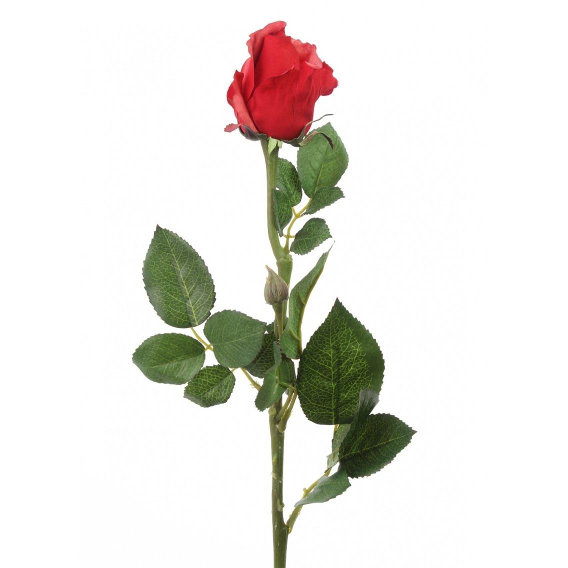 Rose rouge artificielle bouton
