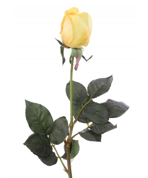 Rose artificielle jaune orange 67 cm