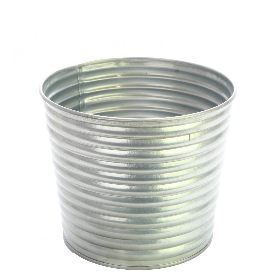 Cache-pot strié en zinc