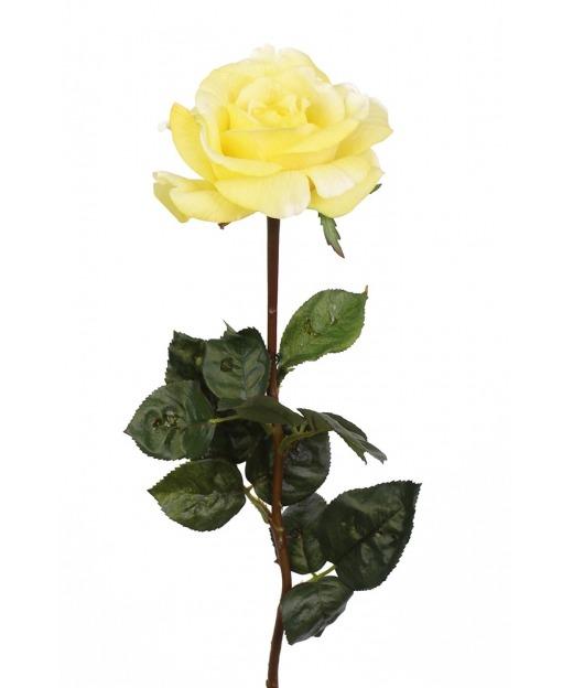 Rose artificielle jaune clair 70 cm