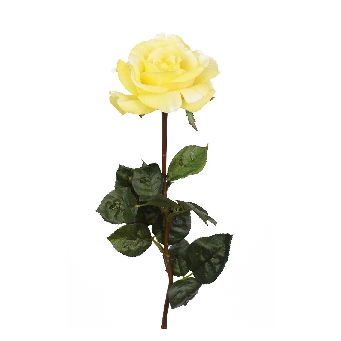 Rose artificielle latex jaune
