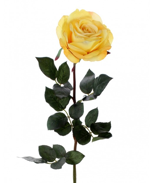 Rose artificielle jaune luxe 80 cm