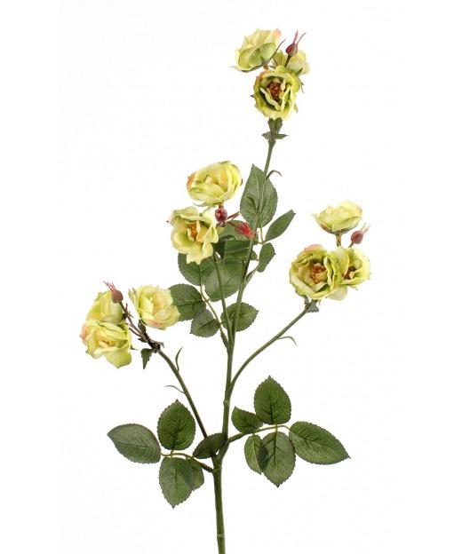 Rose ramifiée artificielle jaune 75 cm