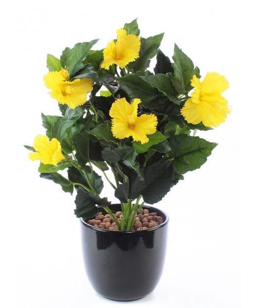 Hibiscus artificiel jaune 45 cm