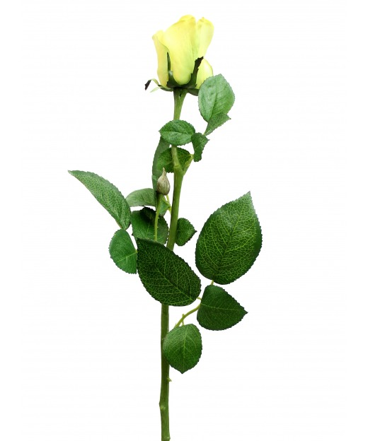 Rose artificielle jaune pâle 68 cm