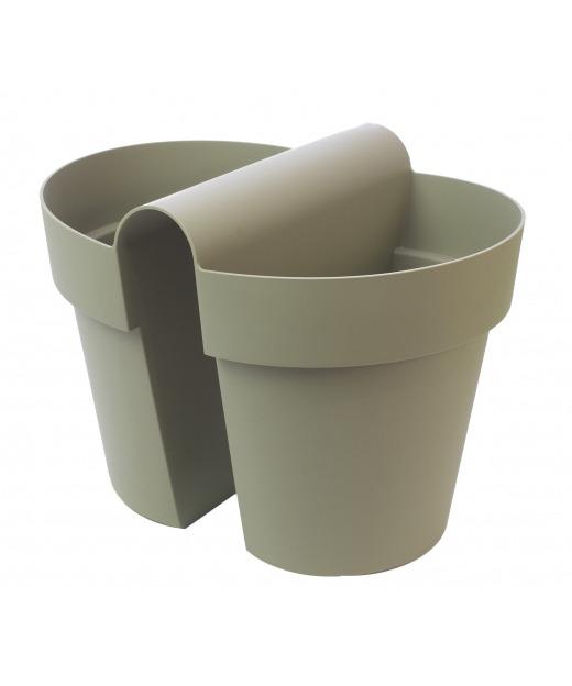 Pot balustrade double vert kaki